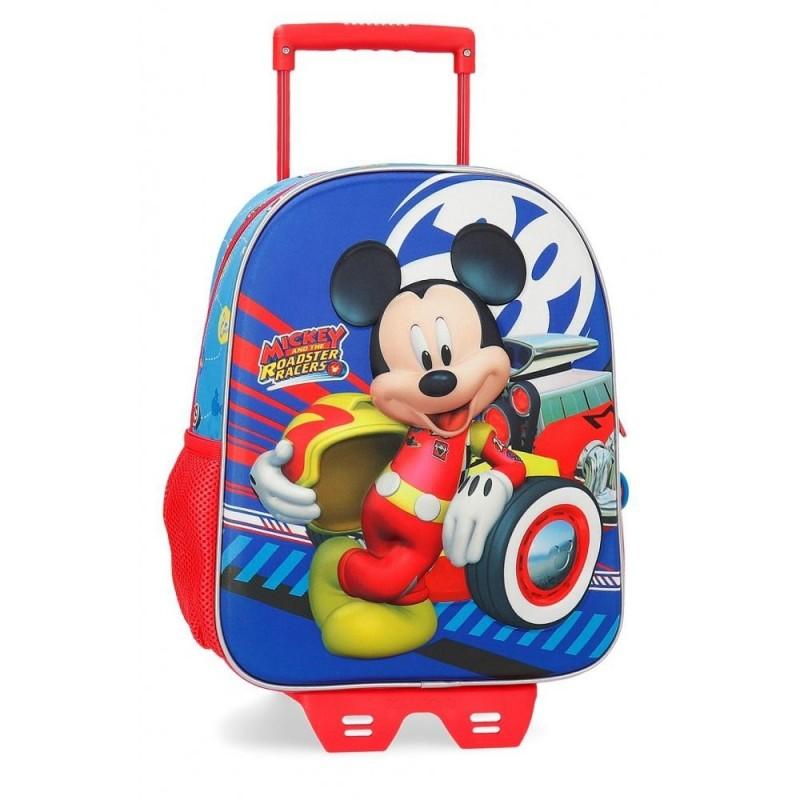 Sac à dos idéal pour la maternelle 33cm, avec chariot et partie frontale en 3D World Mickey